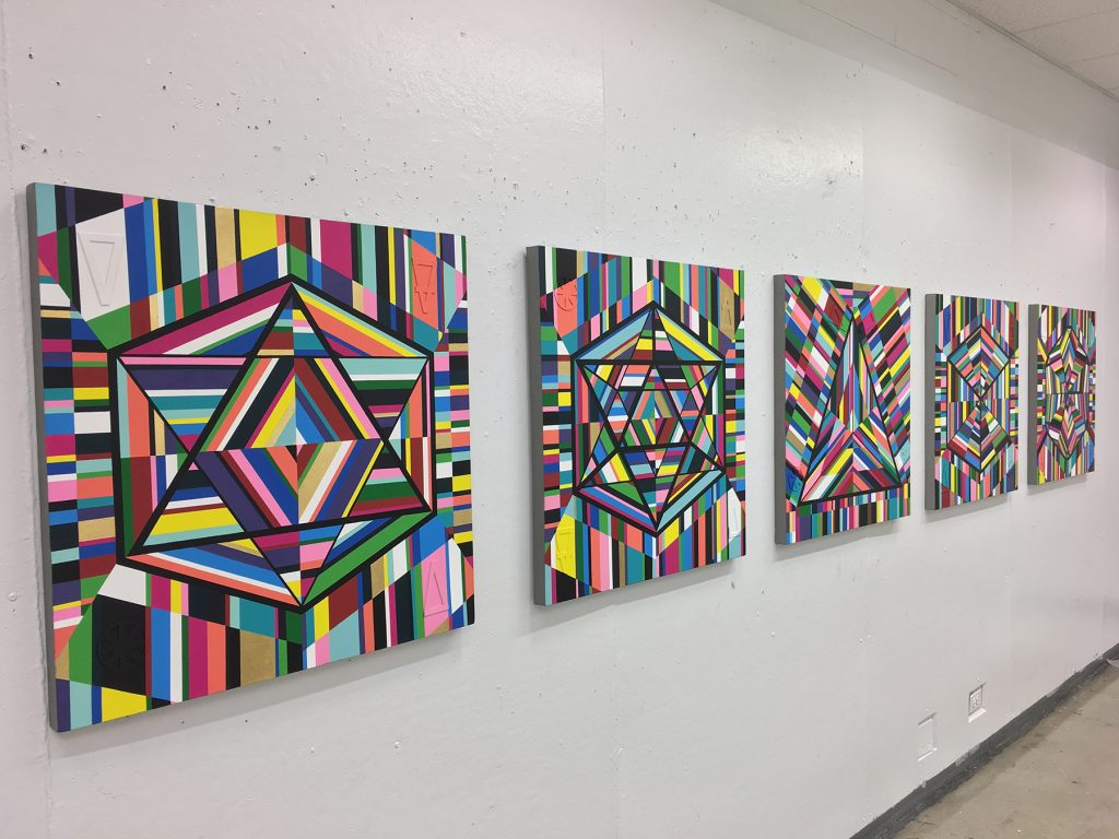"Image: ""5 Platonic Solids"" painting series by Kristoffer McAfee. A view of five mixed media paintings, (acrylic paint, illustration board, and gold foil) on canvas, 30""x30"" each. Image courtesy of the artist."