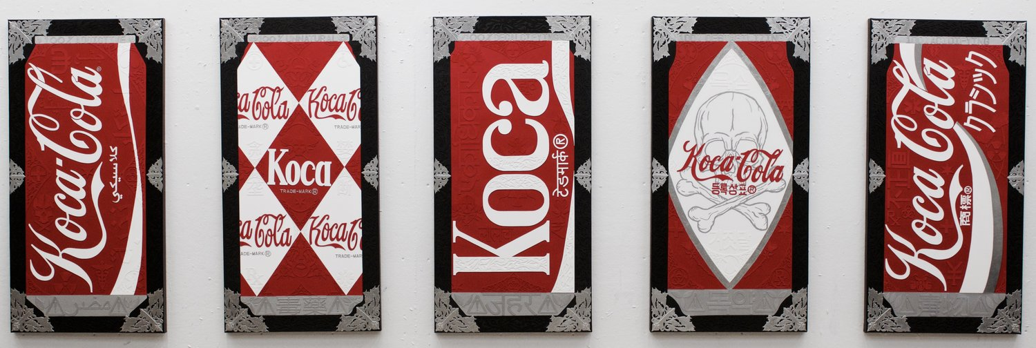 "mage: ""Classic Koca Cola Cans"" by Kristoffer McAfee. A set of five mixed media paintings(acrylic paint, illustration board, and silver foil) on canvas, 24""x48"" each. Image courtesy of the artist."