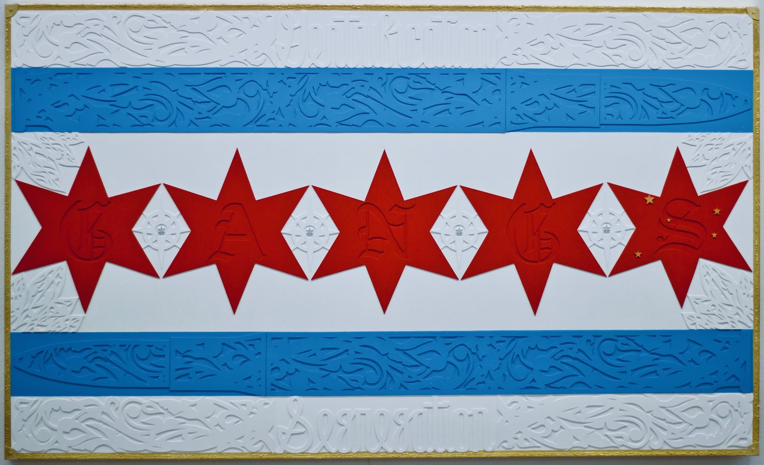 """Image: """"Chicago Flag"""" painting by Kristoffer McAfee, acrylic paint, illustration board, and gold foil on canvas, 36""""x60"""". Image courtesy of the artist."""