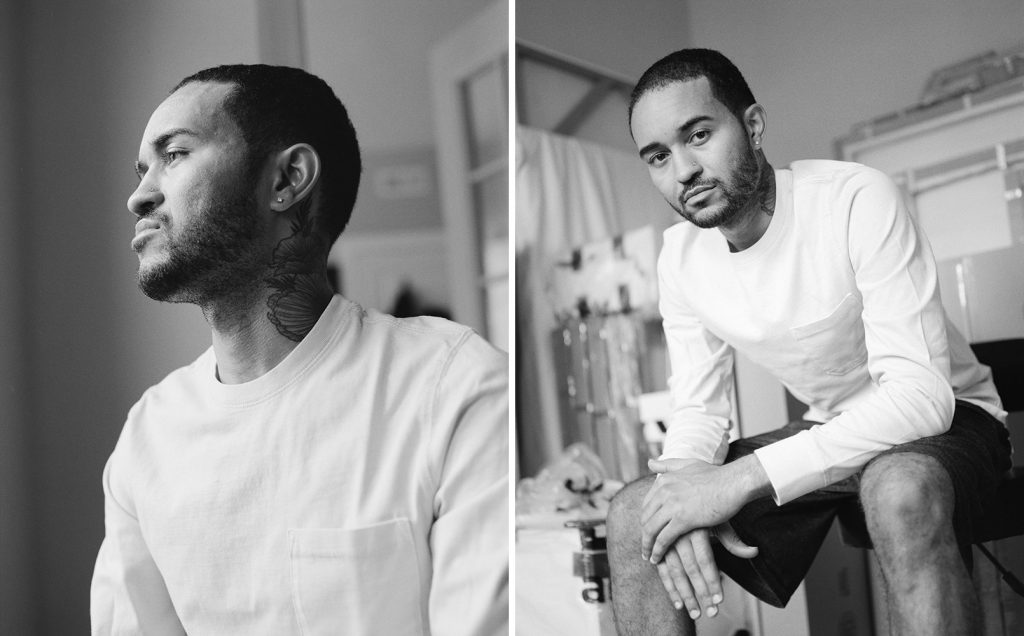 "Images: Kristoffer McAfee in his Chicago apartment, shortly before leaving for Yale. ""I never thought in a million years I would move to New Haven, so I'm ready for a new adventure."" The image on the left shows the artist looking towards the left, and the image on the right shows him sitting looking directly at the viewer. Both photos are black and white.  Photo by Kristie Kahns."