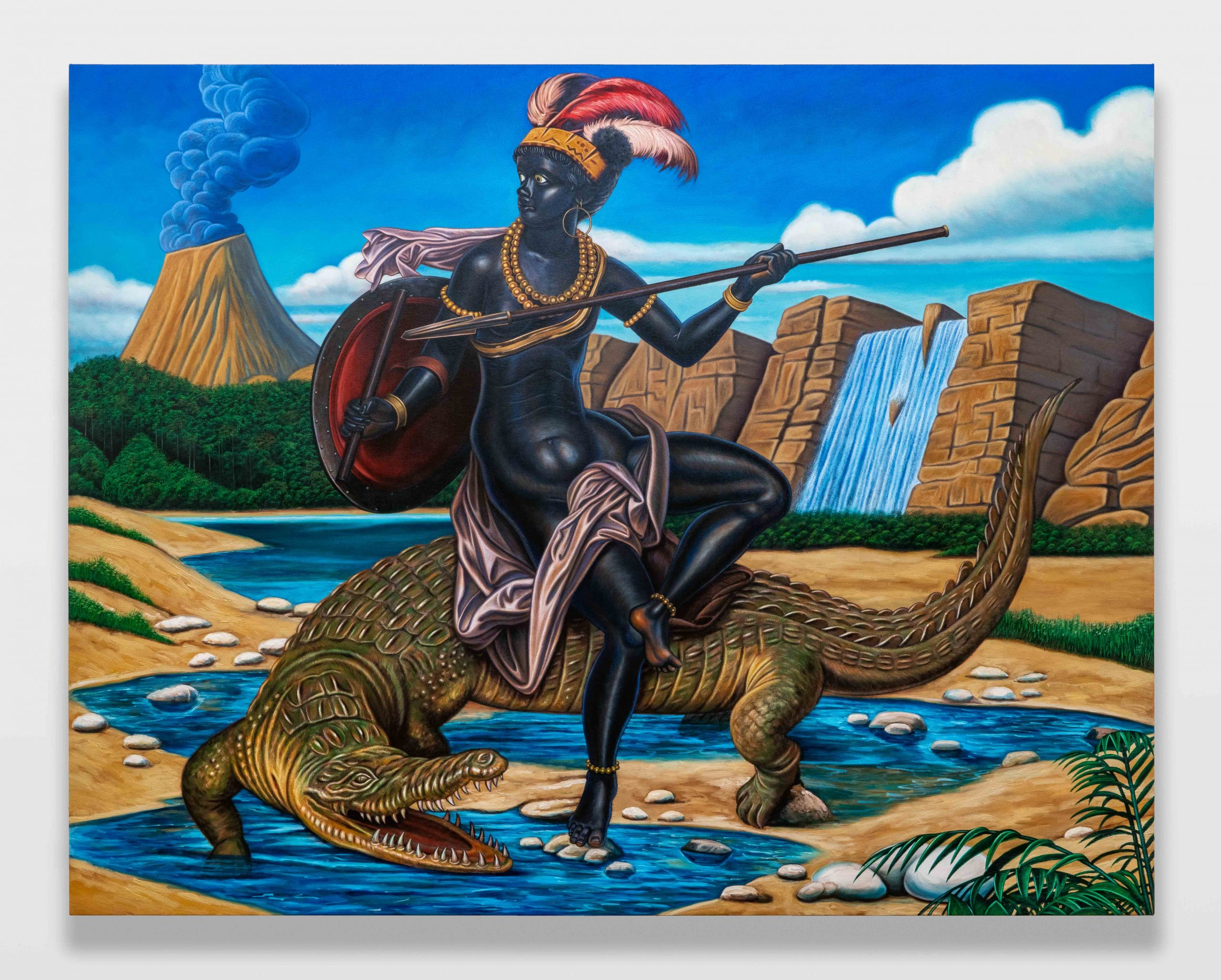 Kajahl Huntress In Oasis (Astride A Crocodile), 2020 oil on canvas 66 x 84 in. Courtesy of the artist and Monique Meloche Gallery, Chicago.