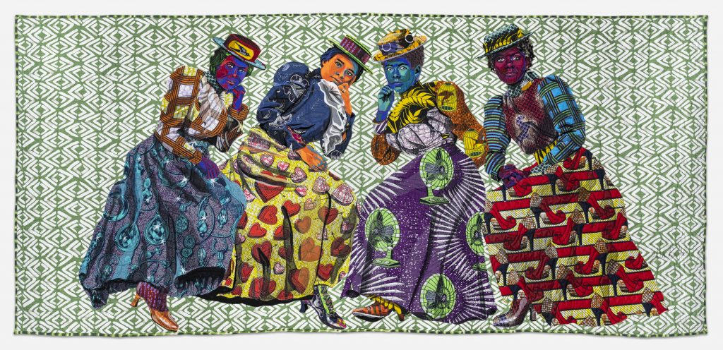 Image: Bisa Butler. I Know Why the Caged Bird Sings, 2019. Minneapolis Institute of Art; Promised gift on long-term loan from a private collection. © Bisa Butler. The textile piece portrays four women in brightly-colored patterns, all wearing hats and striking a pose. The background is a green and white pattern. Photo by Margaret Fox. Image courtesy of the Art Institute.
