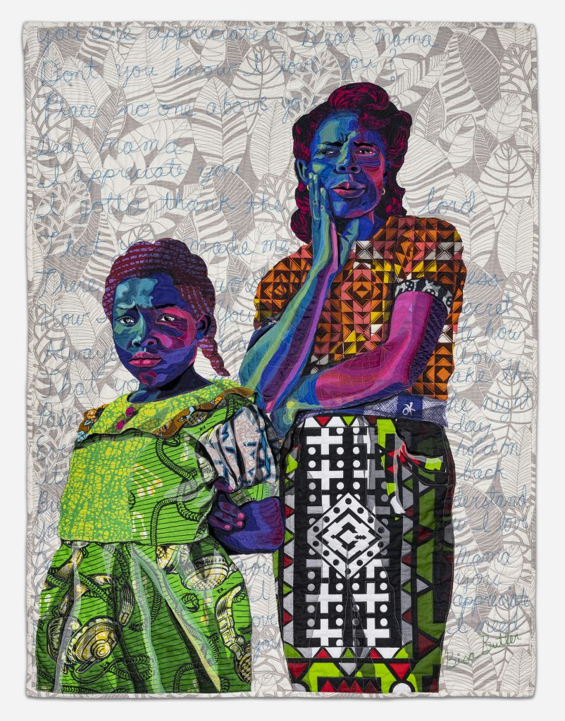 "Image: Bisa Butler. Dear Mama, 2019. Collection of Scott and Cissy Wolfe. © Bisa Butler. The textile piece portrays a young girl and her mother against a gray-patterned background. Bright, colorful fabric make up both of the subjects. Across the background, blue thread spells out phrases like ""Don't you know I love you."" Photo by Margaret Fox. Image courtesy of the Art Institute."