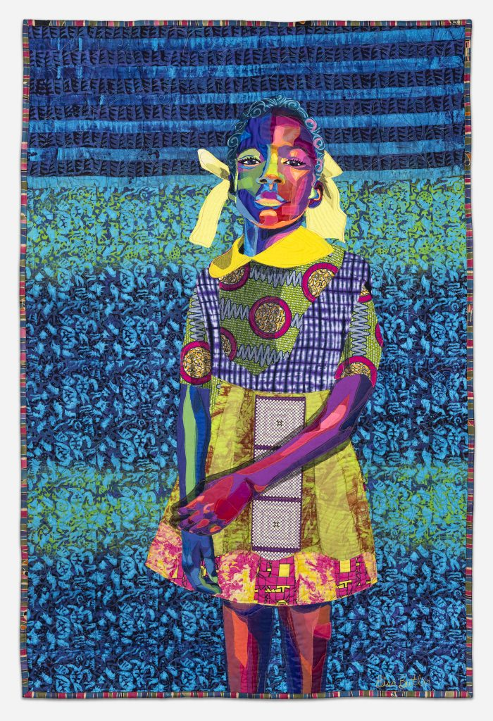 Image: Bisa Butler. The Princess, 2018. Collection of Bob and Jane Clark. © Bisa Butler. The textile piece portrays a young girl with various patterns and bright colors making up limbs, dress, face, and hair. The background is dominated by blue and turquoise. Photo by Margaret Fox. Image courtesy of the Art Institute.