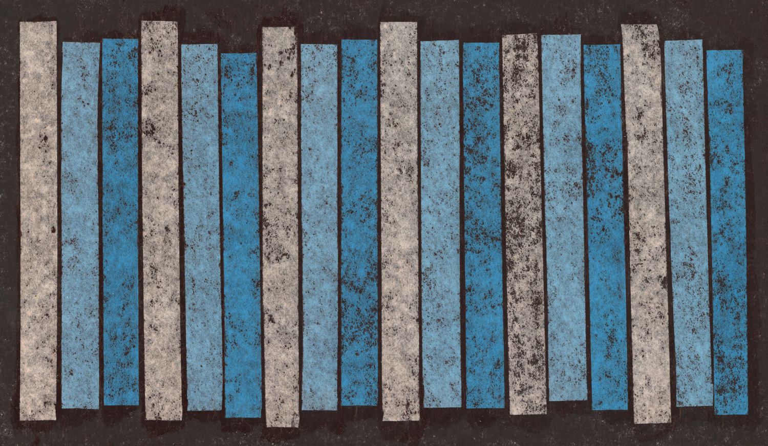 Abstract illustration of vertical stripes in repeating colors on a black background.