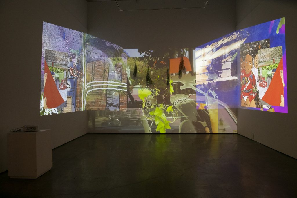 Image: Installation view of Drapetomania by Bobby T. Luck. The piece is comprised of multiple, overlapping projections. Image courtesy of the gallery. Photo by Ty Wright.