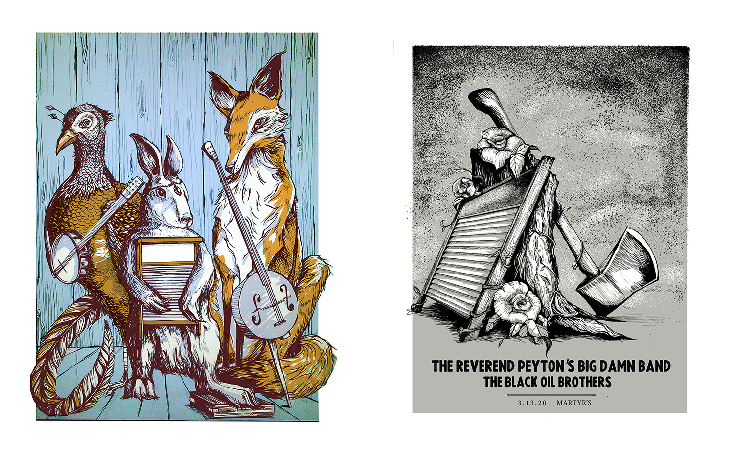 Two poster designs by screen printer Alexandrea Pataky. The poster on the left contains a bird, a rabbit, and a fox all holding instruments. The poster on the right is an illustrated gig poster for The Reverend Peyton's Big Damn Band.