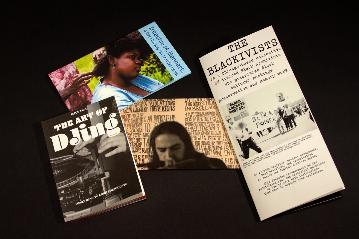 "This image comprises of 4 printed zines. The titles showing are ""The Art of DJing,"" Ireashia Bennett: A Testimonial on Tenderness,"" and ""The Blackivists"""