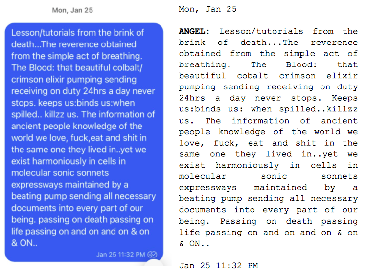 """Image: Text messages between Angel and Dain. Angel: """"Lesson/tutorials from the brink of death...The reverence obtained from the simple act of breathing. The Blood: that beautiful colbalt/crimson elixir pumping sending receiving on duty 24hrs a day never stops. keeps us:binds us:when spilled.. killzz us. The information of ancient people knowledge of the world we love, fuck, eat and shit in the same one they lived in..yet we exist harmoniously in cells in molecular sonic sonnets expressways maintained by a beating pump sending all necessary documents into every part of our being. passing on death passing on life passing on and on and on & on & ON..."""""""