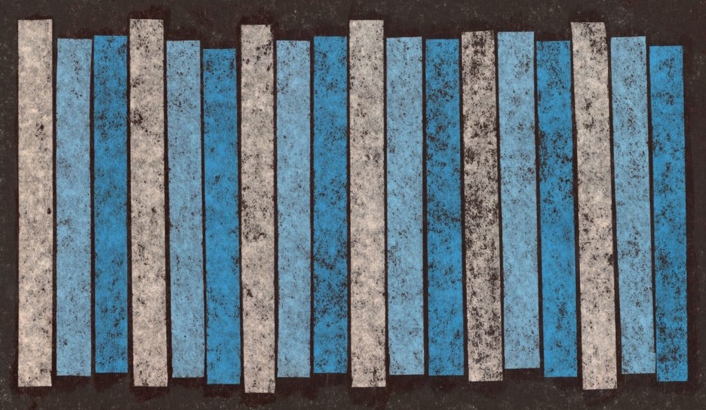 A collage illustration of turquoise and light grey stripes on a black background. Image created by Ryan Edmund Thiel.