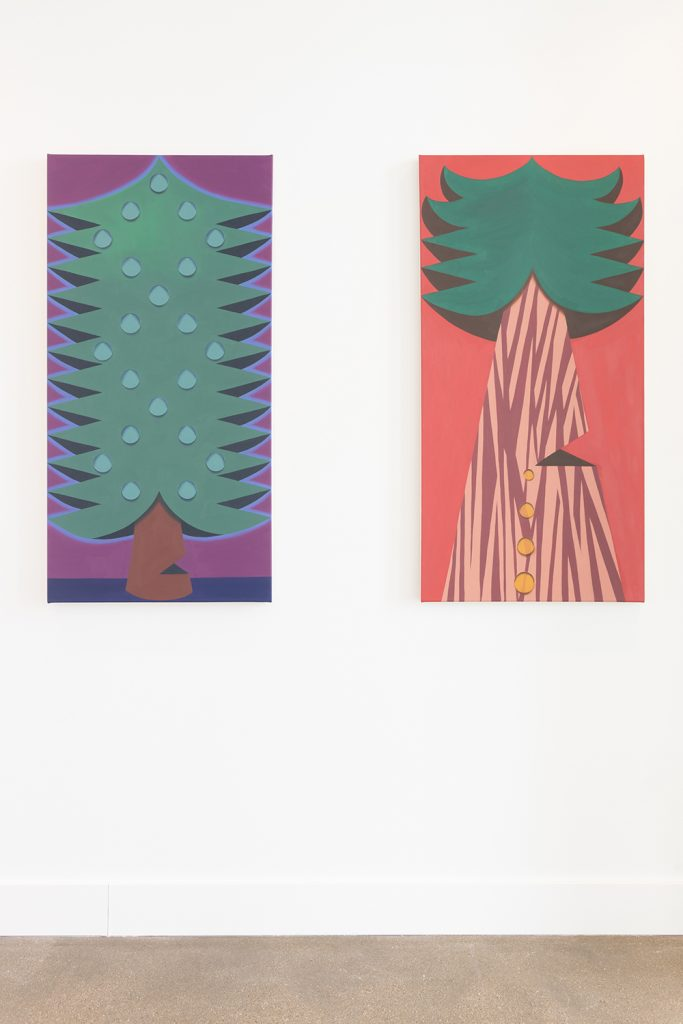 Image: Madeleine Leplae, installation view of Usual Objects. Left: Dewey Tree, 2020. Oil on canvas, 48 x 24 inches. Right: Sappy Tree, 2020. Oil on canvas, 48 x 24 inches. Image courtesy of the artist and Carrie Secrist Gallery.