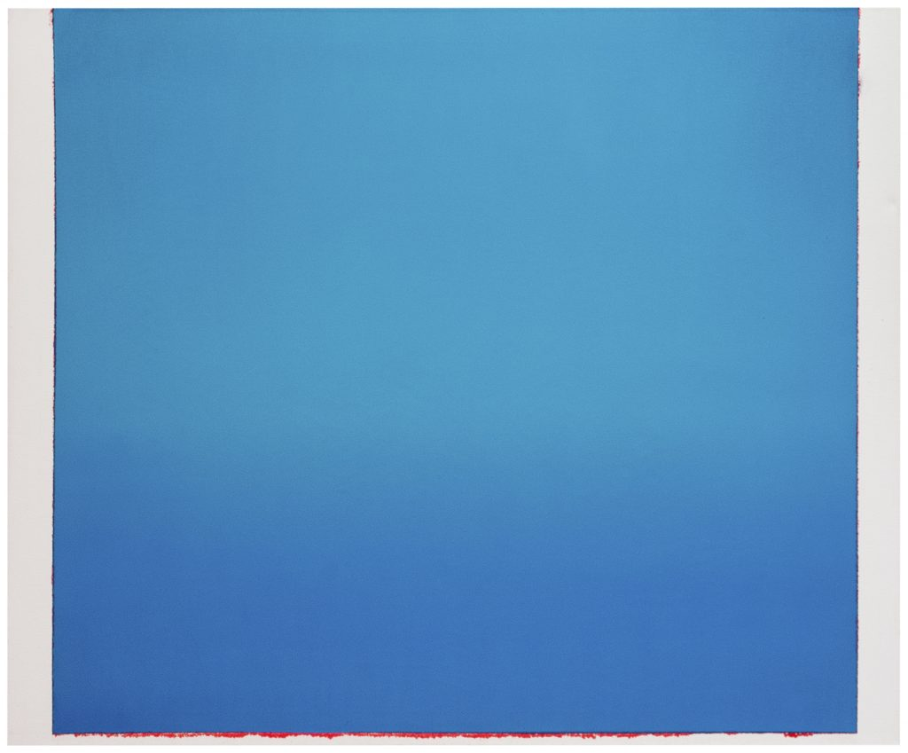 Image: Sergio Lucena, A clear feeling of Blue, 2020, oil on canvas, 55.2 x 67 in. A square canvas completely covered a light and medium blue hues. Image courtesy of Mariane Ibrahim Gallery and the artist.