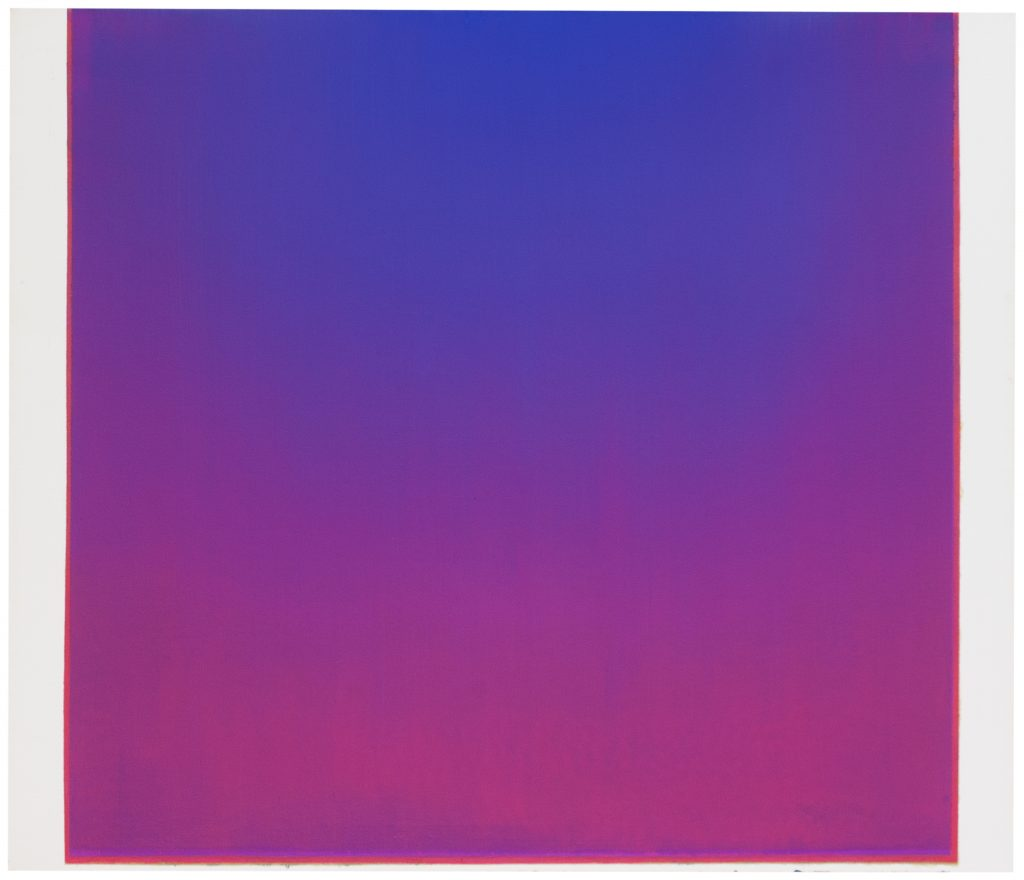 Image: Sergio Lucena, Between the Red and the Blue lives the mystery, 2020, oil on canvas, 47.3 x 55.2 in. A square canvas covered in blue and magenta hues. Image courtesy of Mariane Ibrahim Gallery and the artist.