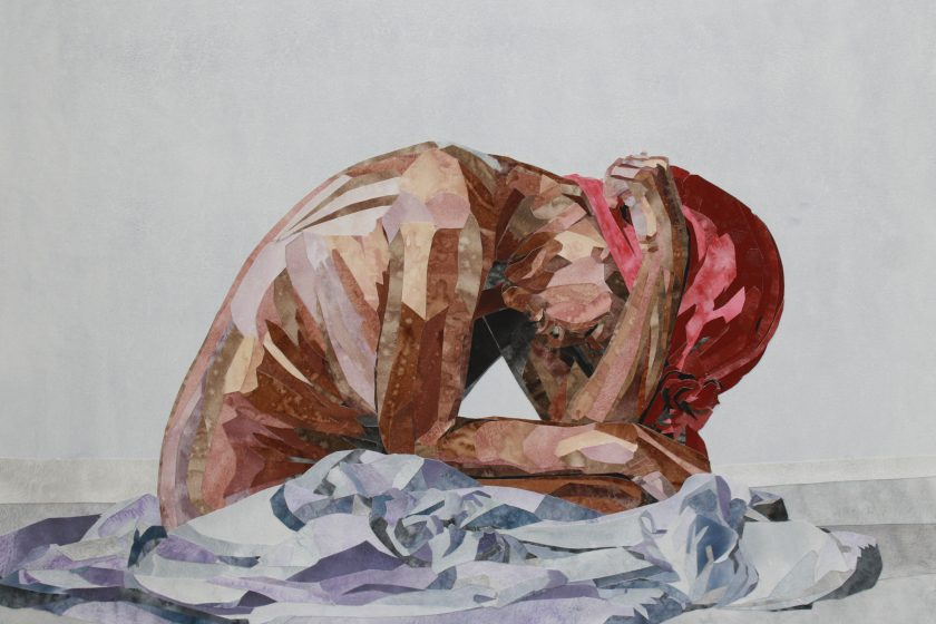 Image: Deep Water and Drowning Are Not The Same Thing by YoYo Lander, 2019. The mixed-media piece shows a nude woman with brown skin sitting with her head in her arms. She wears a red head wrap and sits on blue sheets. Image courtesy of the artist.