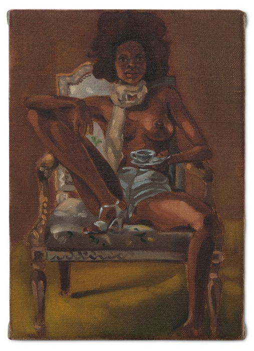 "Image: Figure Holding a Little Teacup by Somaya Critchlow, 2019, oil on linen, 8.35 x 5.83"". © 2019 Somaya Critchlow. The painting depicts a Black woman wearing blue shorts and matching heals. She is topless and holds blue teacup. She looks straight at the viewer. Image courtesy of the artist and Maximillian William, London. Photo: Kalory Photo & Video."