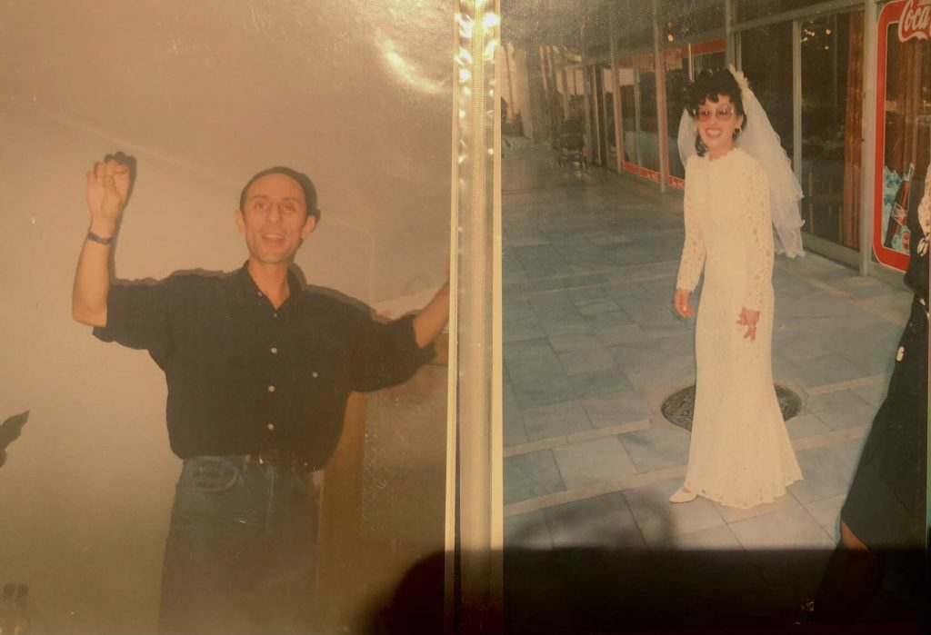 Image: Two photographs in a photo album. On the left is the author's father, mid-dance, against a white wall. He is smiling and his hands are raised. He is wearing a navy blue, short sleeve button-down and blue jeans. On the left is the author's mother on her wedding day. She is standing on a sidewalk, grinning at the camera. She wears a mermaid style, lace, high collar wedding dress, and her veil is on. Her curly, burgundy hair is in an undo. Image courtesy of the author.