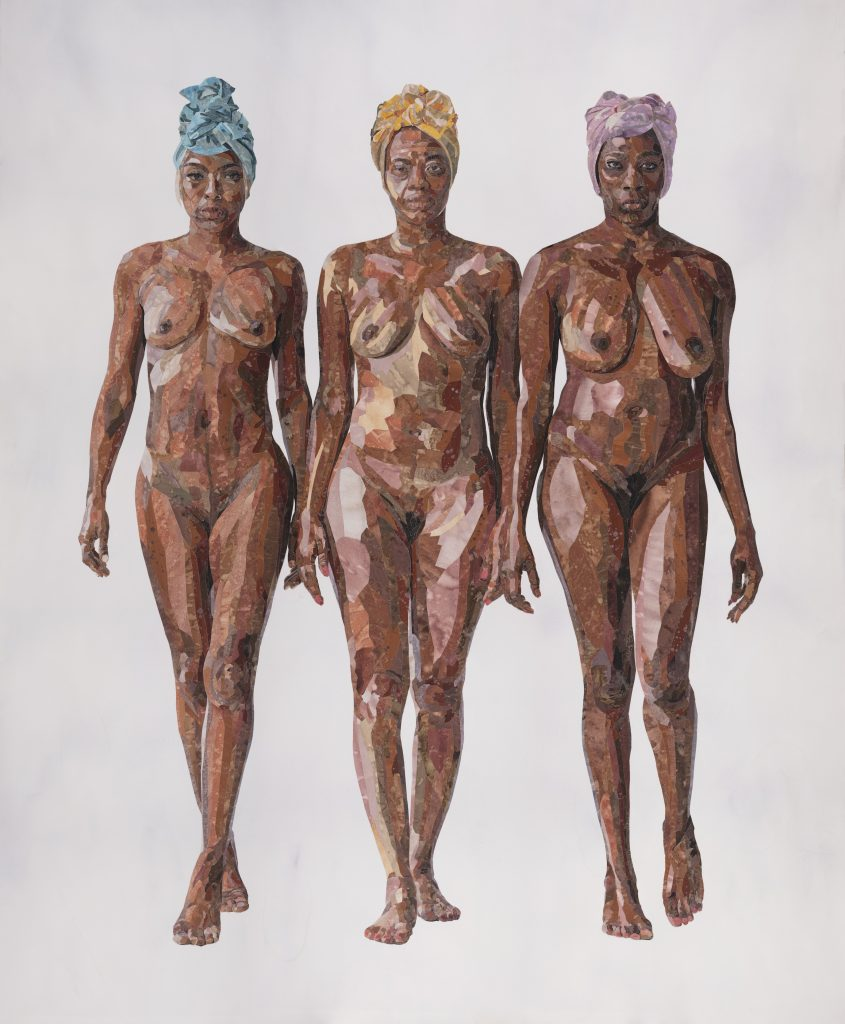 Image: How to Respond to Tear Gas by YoYo Lander, 2020. The mixed-media piece shows a three nude woman with brown skin standing together. They all three wear head wraps and look confidently at the viewer. Image courtesy of the artist.