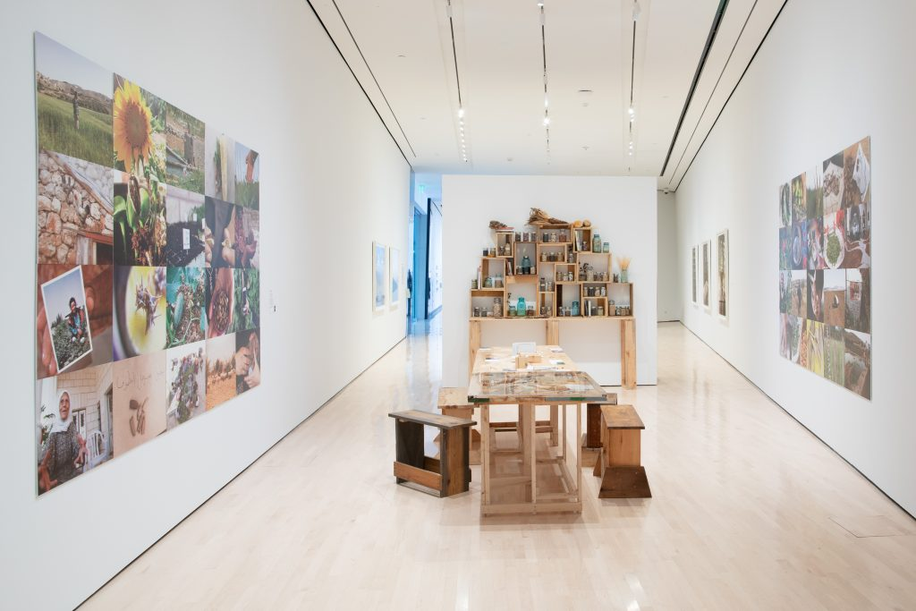 Image: Seeds of Resistance installation view at the Eli and Edythe Broad Art Museum at Michigan State University, 2021. In the center of the room lies a wooden table and benches, which is part of Vivien Sensor's project The Palestinian Heriloom Seed Library. Photographs are on view on the walls surrounding the piece, an an arrangement of jars of seeds is behind the table. Photo: Eat Pomegranate Photography. Image courtesy of the museum.