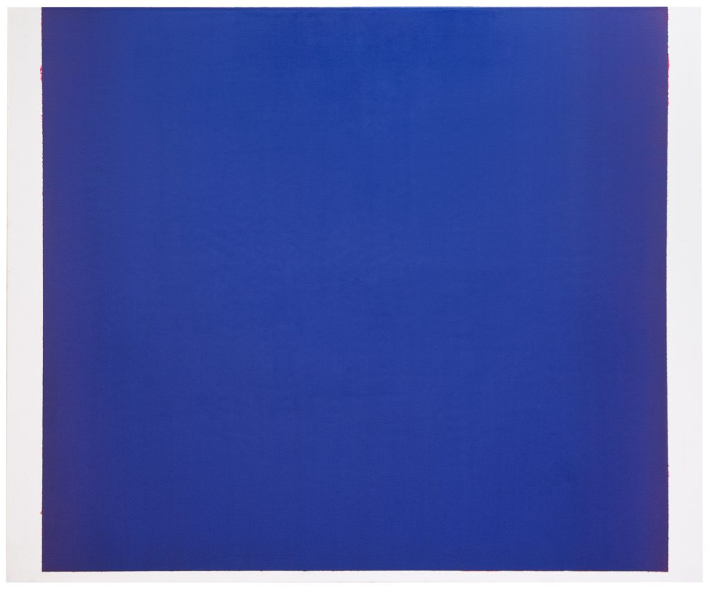 Image: Sergio Lucena, The Blue that embraces me, 2020, oil on canvas,  55.2 x 67 in. A square canvas completely covered a blue hue. Image courtesy of Mariane Ibrahim Gallery and the artist.