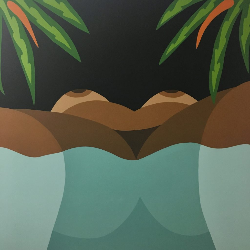 Image: Floating by Bianca Nemelc, acrylic on canvas, 2019. The painting shows a view of a nude woman with brown skin laying on her back in water. Image courtesy of the artist.