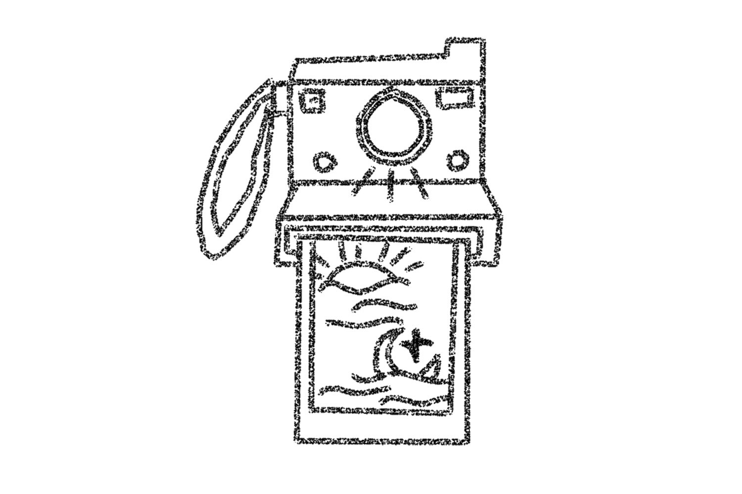 Digital illustration of a polaroid camera with film coming out of the front. The image on the polaroid is of the sun, the moon, and a star. Illustration by Kyra Horton.