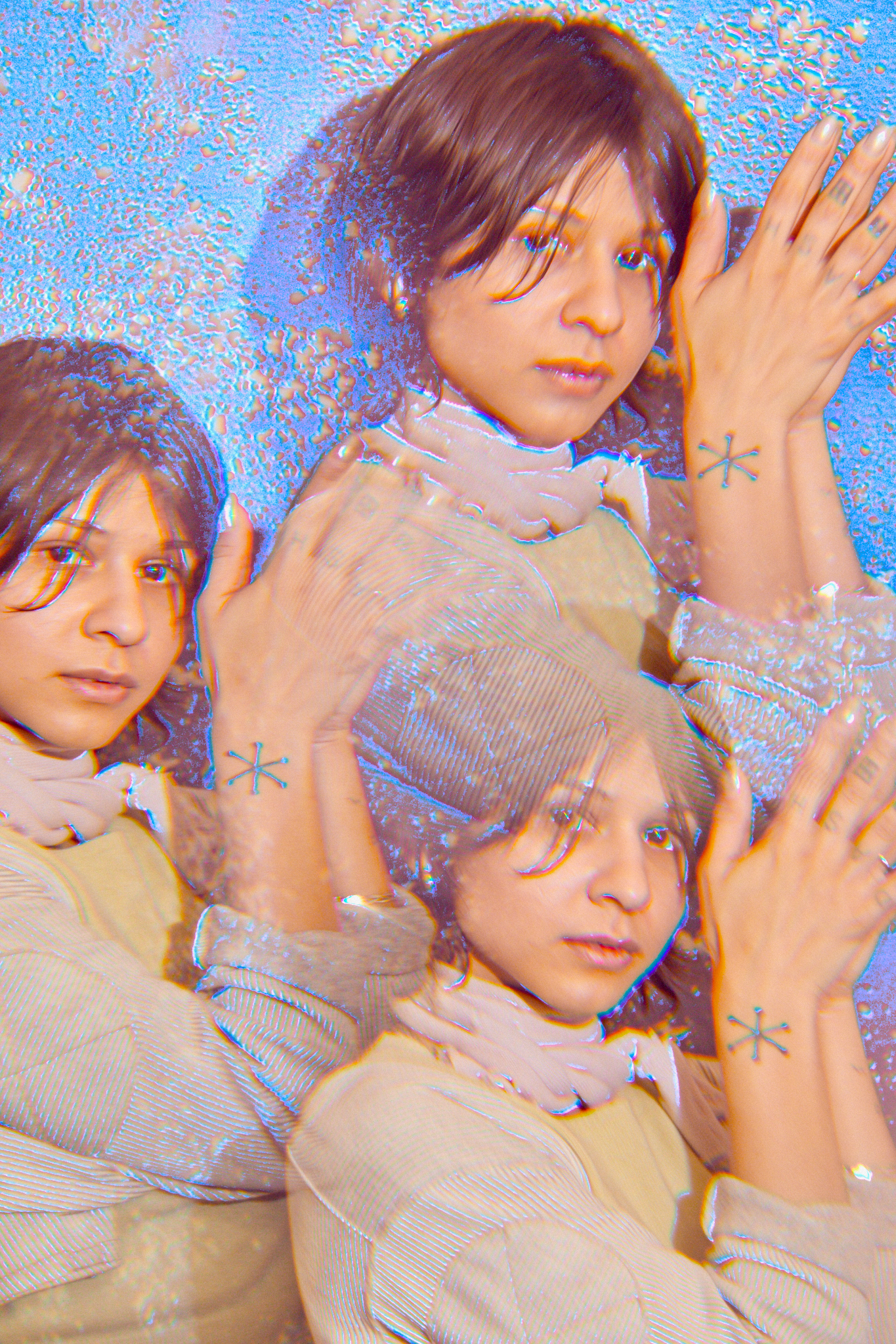 Image: Marissa Macias faces the camera with her hands together towards her head. Three images of Marissa are arranged like a kaleidoscope on a silvery-blue background. Photo by Sarah Joyce.