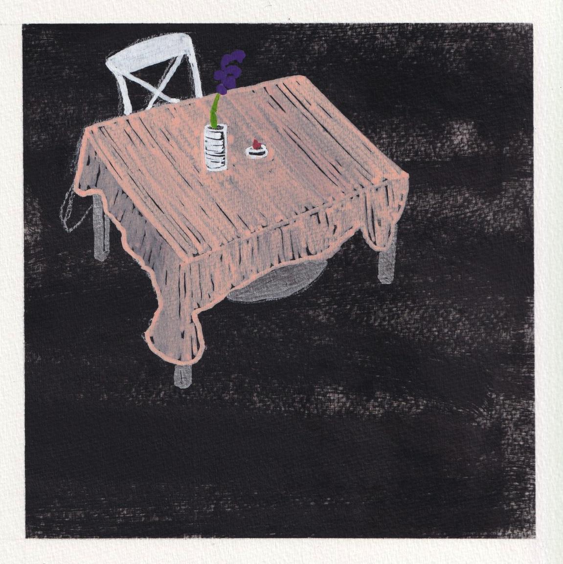 Imagen de portada: una ilustración de una mesa pequeña con una silla blanca. Un lino de color lechoso cubre sobre la mesa con una orquídea púrpura en un jarrón de vidrio por encima. La ilustración está colocada sobre un fondo negro texturizado. Ilustración de Damiane Nickles.