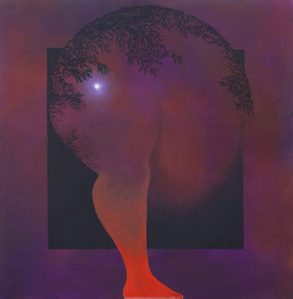 Image: Brittney Leeanne Wiliams, Dusk, 2021 oil on linen, 30 x 30 in, 76.2 x 76.2 cm. Courtesy of the artist and Monique Meloche Gallery. An abstract figure bends with on foot on the ground. The foot is bright red and the background is violet, the same color as most of the body. A moon glows in the background.