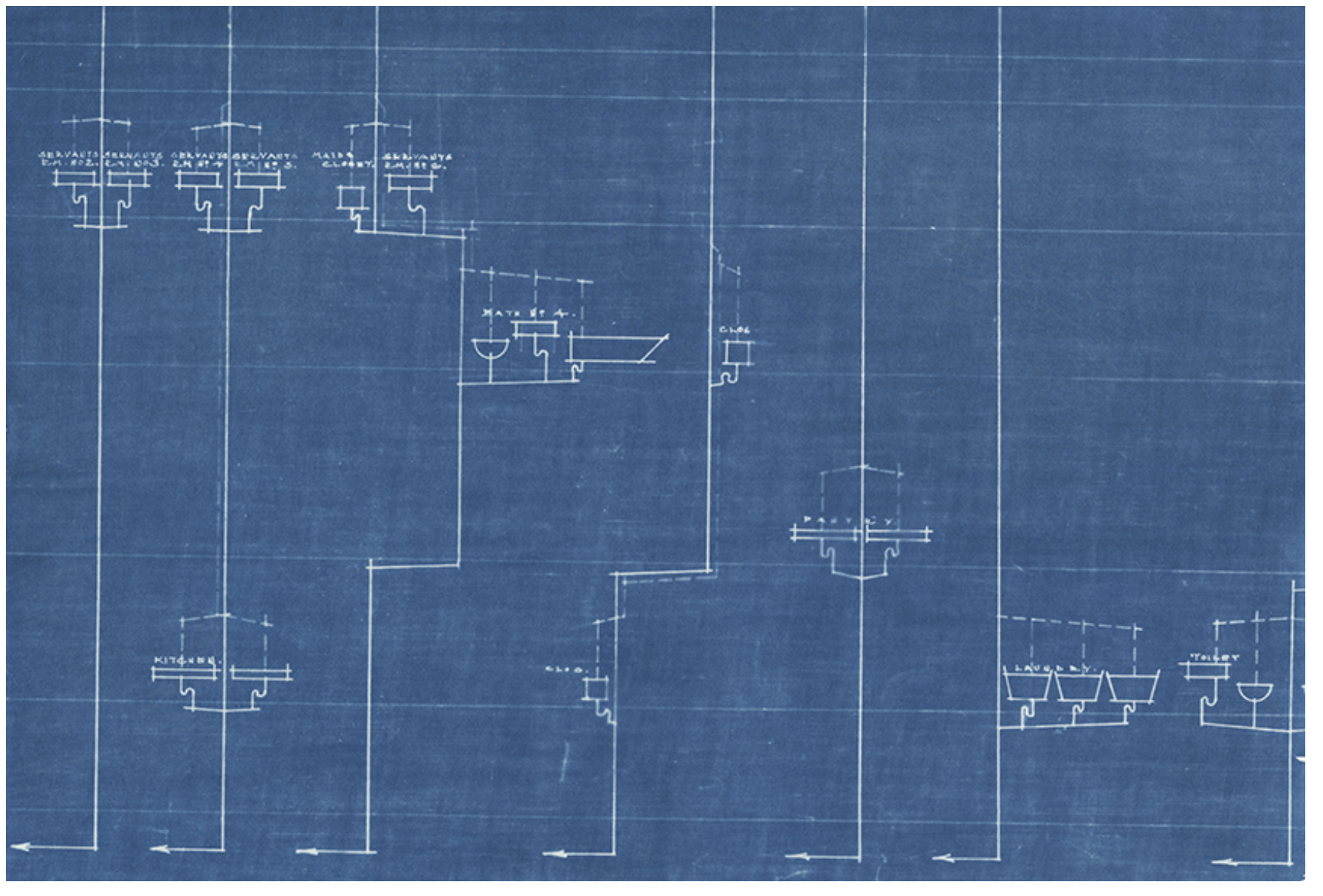 Image: Anatomy Of by Kioto Aoki. A sectional cyanotypes created from original architectural drawings of the Countiss Mansion from 1916. The image is blue and white. Courtesy of the artist.