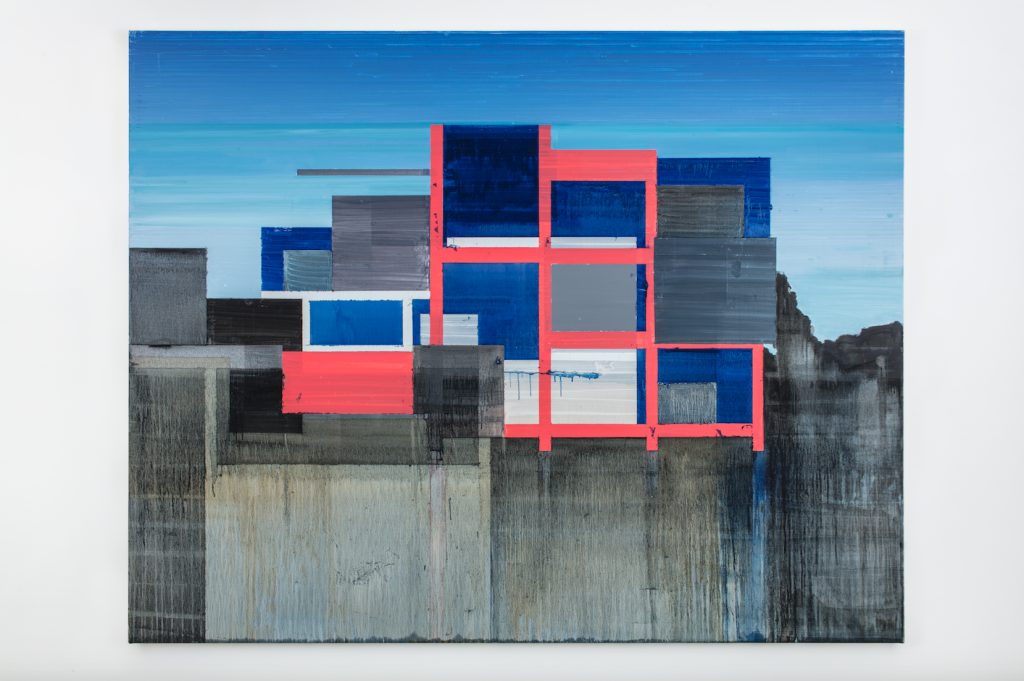 """Image: Hurvin Anderson, Higher Heights, 2020, acrylic, oil on linen, 59 1/8 x 74 3/4"""". A geometric painting of abstracted buildings, largely made up of bright reds, blues, and grey. Photo: Richard Ivey."""