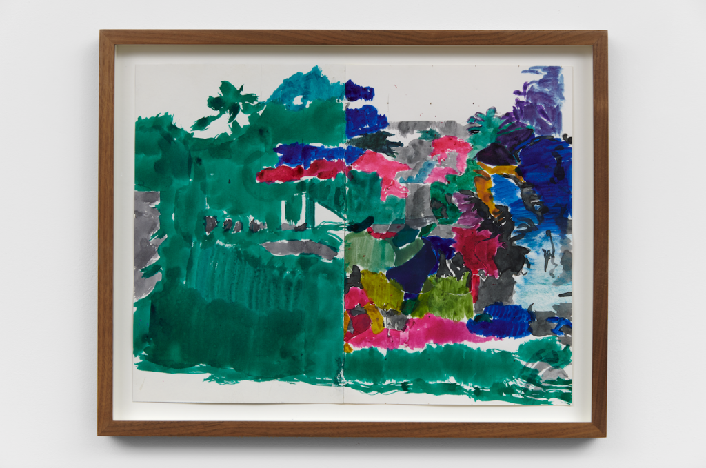 """Image: Hurvin Anderson, Chalet 2, 2019, ink and pencil, collage on cartridge paper, 11 5/8  x 15"""". An abstract painting of plant life in Jamaica. The left side is largely green with some grey, red, and blue, with the right side being full of a variety of these colors and more. Photo Ben Westoby."""