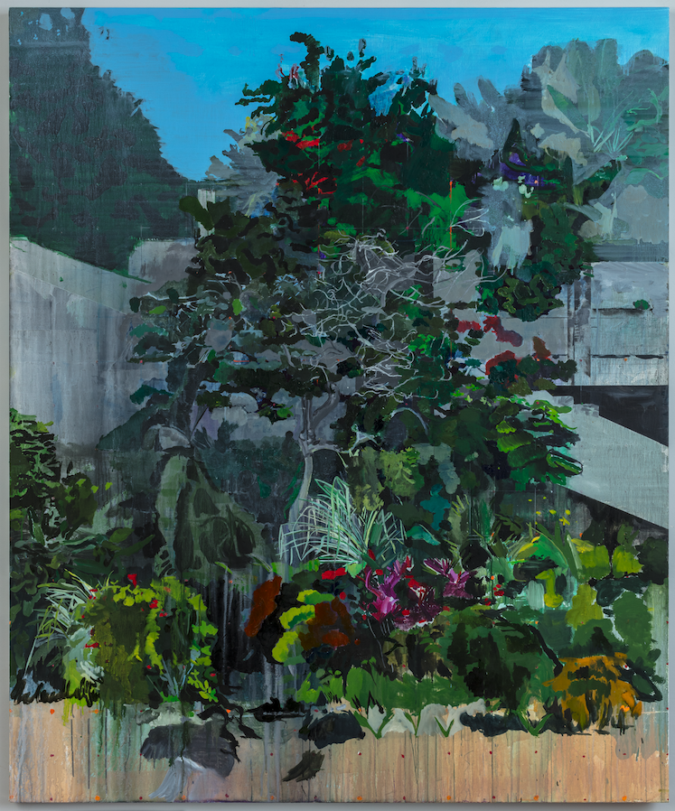 Image: Hurvin Anderson, Jungle Garden, 2020, acrylic, oil on linen, 71 1/4 x 59 1/8 in. Courtesy DeYing Foundation. A painting of lush green foliage in Jamaica. A concrete structure is in the background. Photo: Richard Ivey