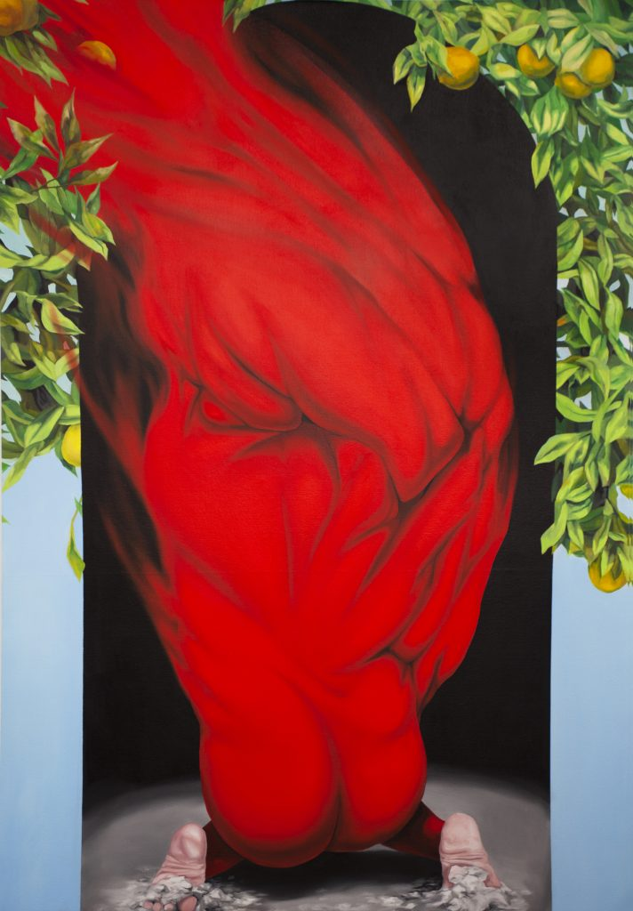 Image: Brittney Leeanne Wiliams, The Break of a Curse, 2021, oil on canvas, 60 x 42 in, 152.4 x 106.7 cm. Courtesy of the artist and Monique Meloche Gallery. The painting depicts and abstract, red-colored body that is crouching down and then transforms into organic shapes as it grows upward towards the top of the frame. Green leaves and oranges grow around the edges of the frame.