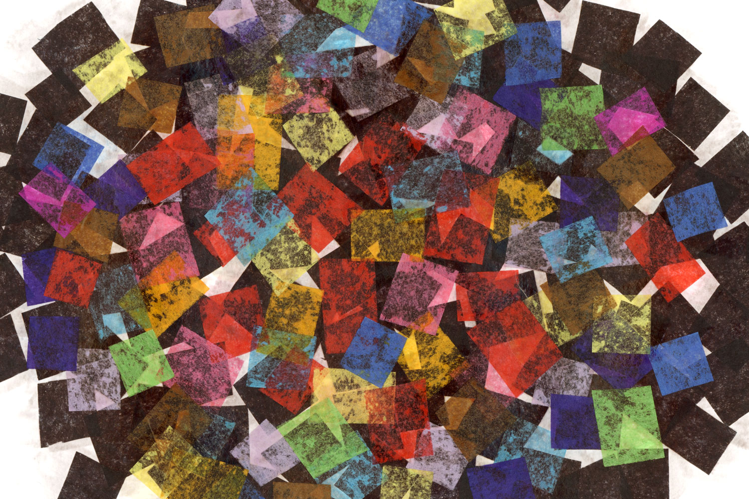 An abstract illustration of many different colored overlapping squares cut from tissue paper.