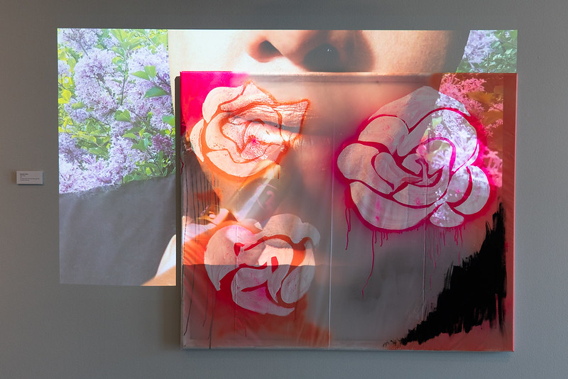 Image: Alexander Martin, Prism Power, 2021. The image shows a bright pink, orange, and black painting of flowers with a projection Transparent drop cloth with video projection. Photo by Jessica Bingham. Courtesy of University Galleries of Illinois State University.