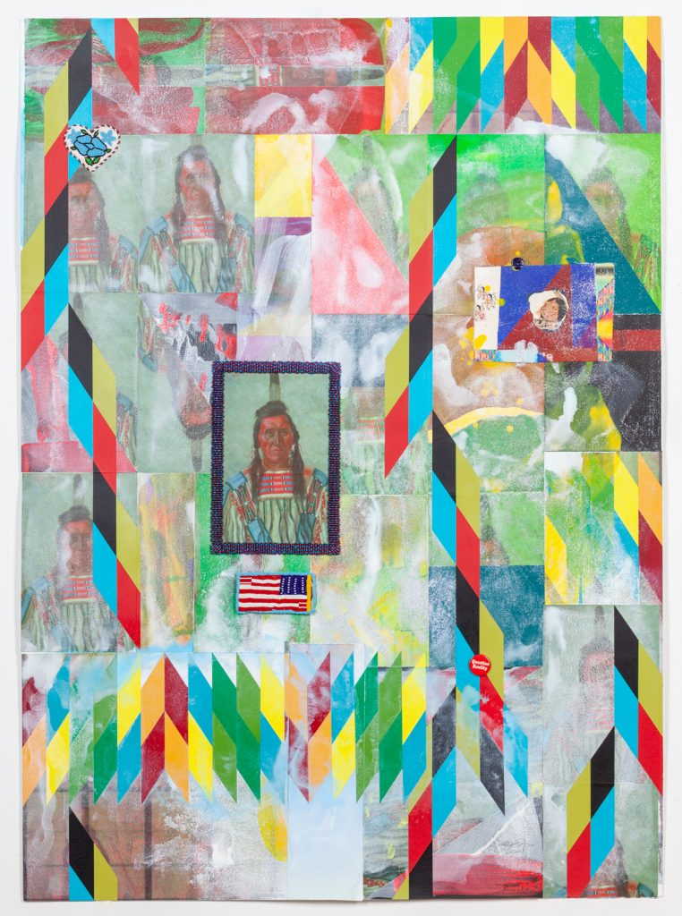 Image: Chief Pretty Eagle by Jeffrey Gibson. Created from various materials, a caricature of a Native American person sits in the upper right hand side of the frame on top of geometric shapes in vivid colors. A heart created with beadwork sits in the upper left hand side. A little off center towards the middle of the piece is a backwards American flag created from intricate beadwork. Above that is a portrait of a Native American person with intricate beadwork in blues and reds creating a frame around it. Various surface textures and colors form geometric patterns across the background of the piece. Photo courtesy of the artist.
