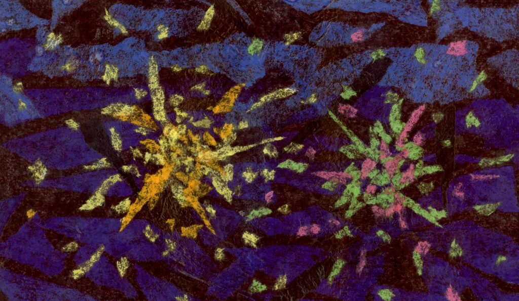 An abstract illustration of fireworks created from different colored pieces of tissue paper. The sky in the background is black with deep shades of blue and the fireworks are yellow, orange, green, and pink.