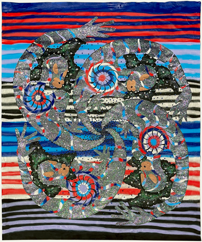 """Image: """"Spinning Satellites"""" by Erin LeAnn Mitchell. Acrylic, spray paint, beads, fabric appliqué on canvas 60 x 60 inches, 2021. A large, colorful abstract piece with horizontal stripes in the background and swirls in the foreground.Courtesy of the artist and FLXST Contemporary."""