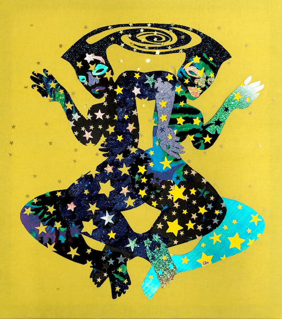 """Image: """"Sistars"""" by Erin LeAnn Mitchell. Acrylic, fabric appliqué, confetti stars with wooden panel backing, 32 x 36 x 1 inches, 2021. The piece shows two colorful figures intertwined and made up of stars floating against a yellow background. Courtesy of the artist and FLXST Contemporary."""