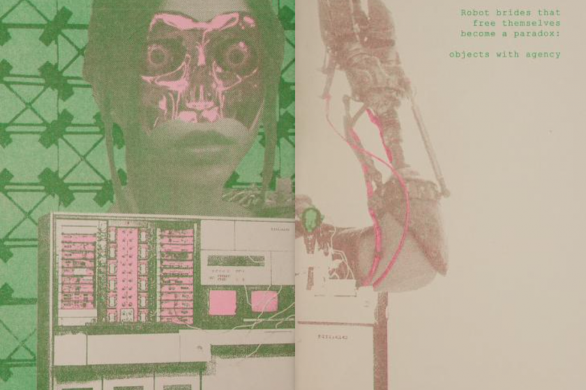 """Featured image: """"Body"""" Digital collage, risograph print by Whitney Humphreys. The piece shows an image of a woman with part of her face missing, revealing cyborg-like parts underneath. Underneath are various machine parts. The right side of the piece shows a robot arm and text that reads: """"Robot brides that free themselves become a paradox: objects with agency"""". The piece is mostly pink, green, and tan. Image courtesy of the Internet Archive."""