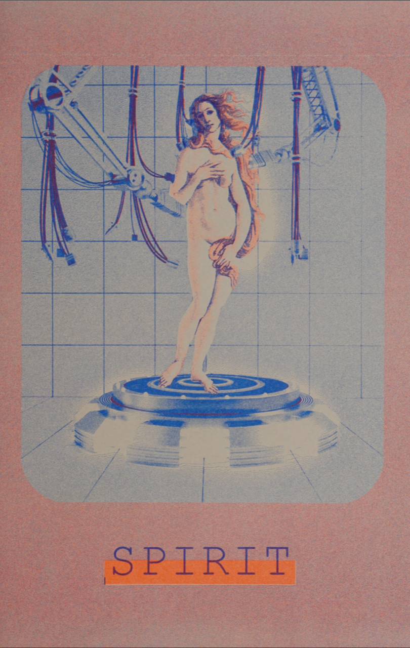 """Image: """"Spirit"""" digital collage, risograph print by Whitney Humphreys. The piece shows Sandro Botticelli's Venus in blues and pinks standing with robot arms and hands all around her. Around the figure is blue, then pink negative space. Underneath the figure is the world """"SPIRIT"""". Image courtesy of the Internet Archive."""