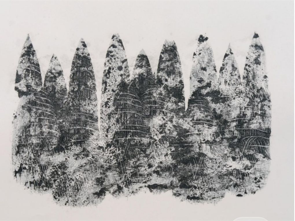 """Image: Mehran Salari, """"Untitled,"""" 2017. Monoprint and pencil and pen, 40×40 cm. A black and white image that is largely abstract with a group of organic shapes. Image courtesy of Didaar Art Collective."""