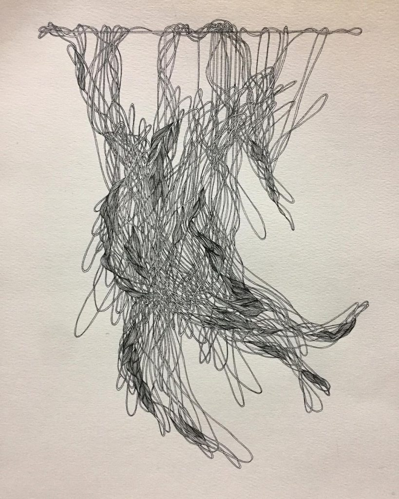 """Image: Setareh Afzali, """"Suspended,"""" 2019. Drawing pen on cardboard, 25×30 cm. A black and white drawing of an organic tangle of thread hanging. Image courtesy of Didaar Art Collective."""