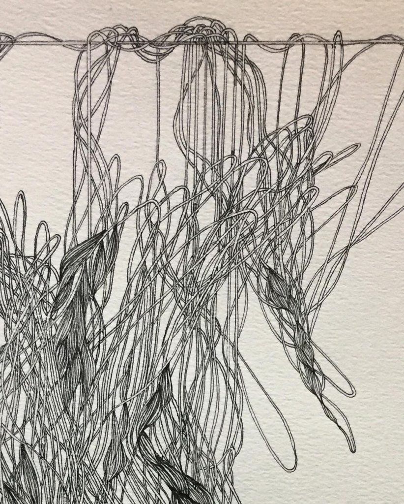 """Image: A detail of Setareh Afzali's """"Suspended,"""" 2019. Drawing pen on cardboard, 25×30 cm. A black and white drawing of an organic tangle of thread hanging. Image courtesy of Didaar Art Collective."""