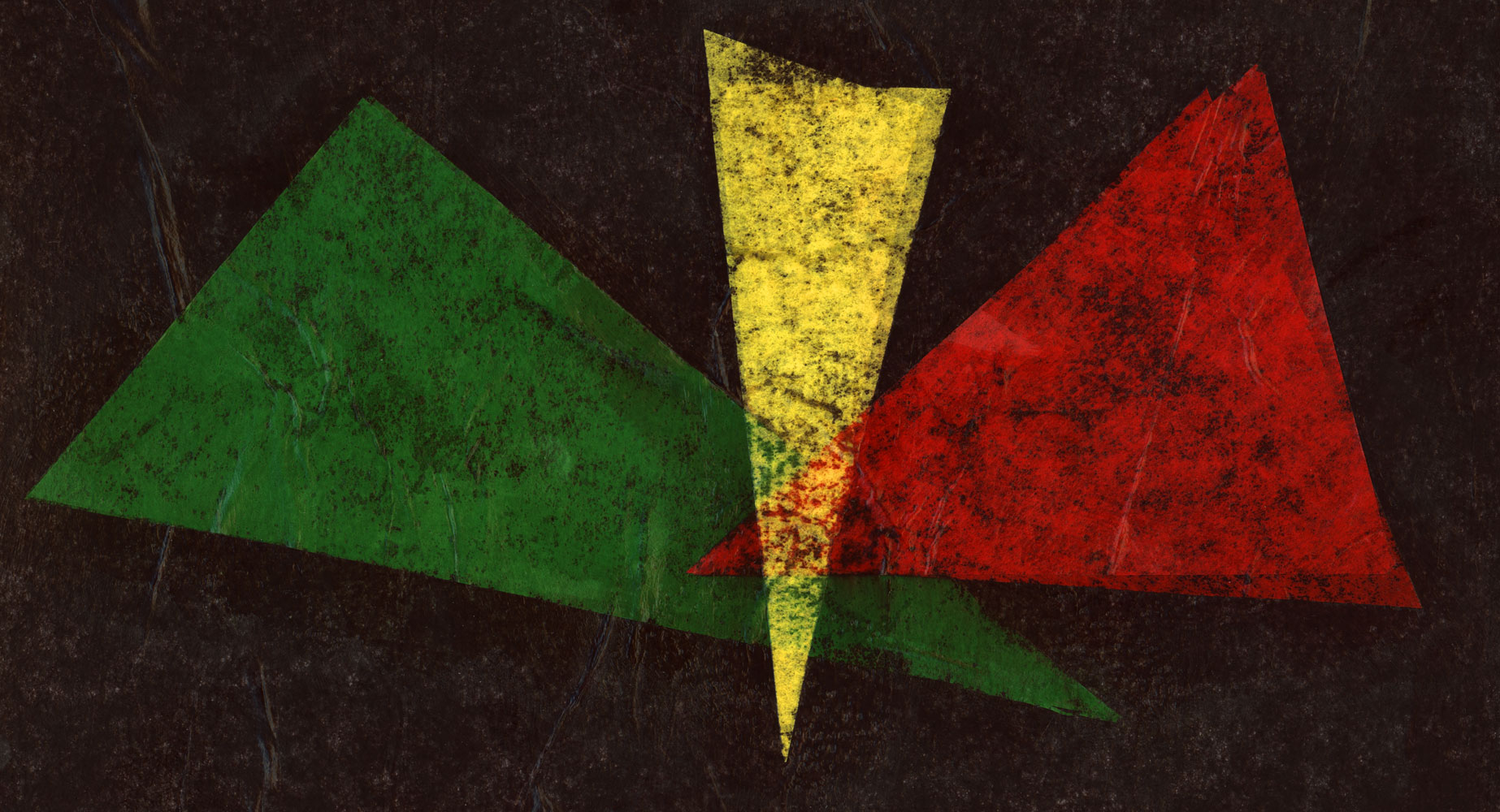 An abstract image of green, yellow, and red triangles overlapping on a black background. Illustration by Ryan Edmund Thiel.