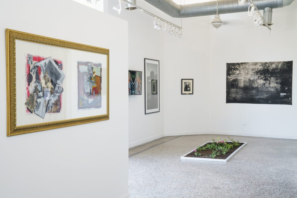 """Image: A view of """"Dreamscapes: Imaginings of a Black Pastoral"""" at Roots and Culture. The foreground shows a collage piece on the wall to the left, and the right side of the frame looks into a larger space with various artworks on the wall. A rectangle plot of soil and flowers sits on the floor. Photo by Colectivo Multipolar."""