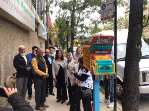 Urooj Shakeel at the ribbon cutting ceremony for Truck Art Meets Little Free Library at Devon Avenue and Clark Street. Photo by Hilesh Patel.