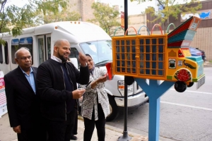 Urooj Shakeel with Alderman Vasquez at the ribbon cutting ceremony for Truck Art Meets Little Free Library at Devon Avenue and Clark Street. Photo by Hilesh Patel.