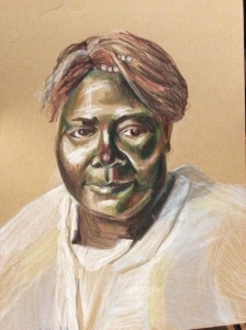 A portrait of Elder Lucy Smith by Venise Keys, 2019.
